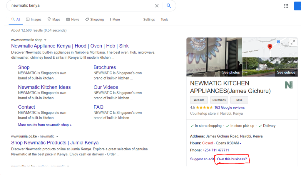showing Knowledge graph results for a local business
