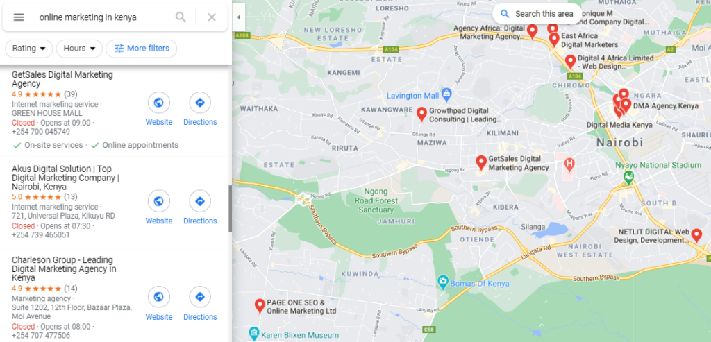 Google map snap shot showing the position of a Kenyan business on maps