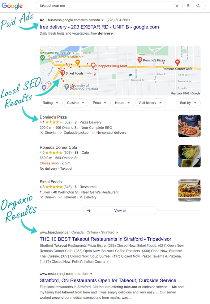 showing Google search results